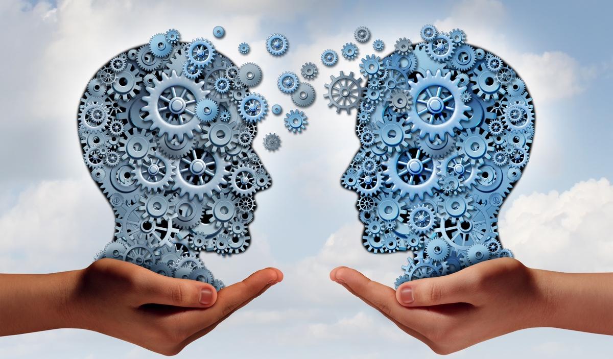 Två händer som håller en grupp av maskin kugghjul formade som ett människohuvud som symbol och metafor för flexibelt lärande.