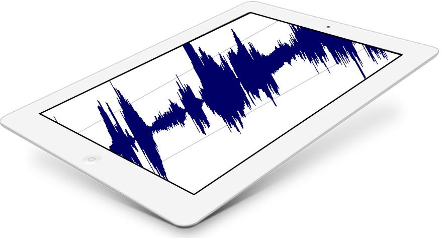 iPad med ljudvågor