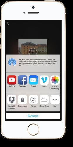 En iPhone med appen iMovie och olika exportinställningar